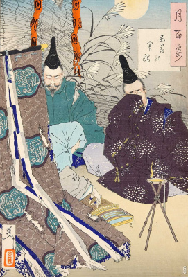 """Цукиока Ёситоси. Мужчины слушают женщину, играющую на кото. Серия """"100 видов луны"""""""