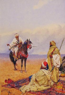 Джулио Розати. Всадник остановился у лагеря бедуинов