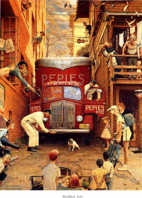 """Norman Rockwell. Roadblock. Cover of """"The Saturday Evening Post"""" (July 9, 1949)"""