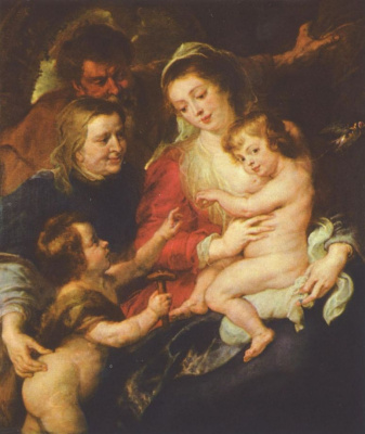 Peter Paul Rubens. The Holy family with St Elizabeth and St John