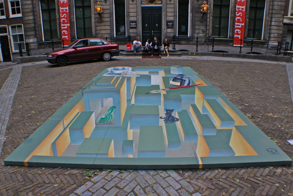 Мауриц Корнелис Эшер. Стрит-арт у входа в музей Эшера (2012)