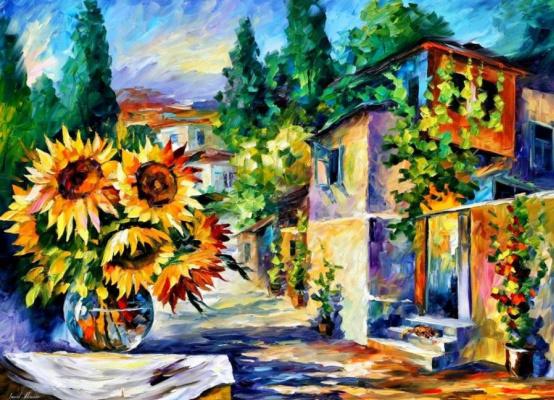Leonid Afremov. Vase with sunflowers