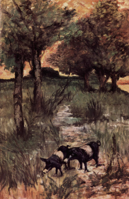 Giovanni Fattori. Two pigs in a pasture