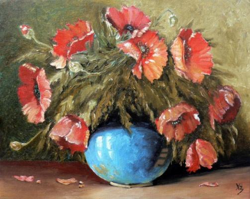 Sergei Nikolayevich Khodorenko-Zatonsky. Poppies in a blue vase