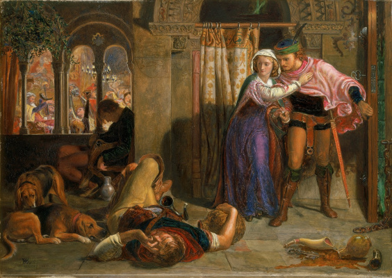 William Holman Hunt. The flight of Madeline and Porphyro attending the revelry on the eve of St. Agnes