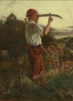 Arthur Hughes. Peasant with scythe. Sketch