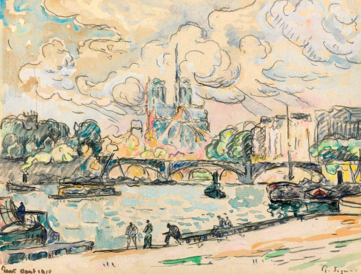 Paul Signac France 1863 - 1935. Austerlitz Embankment. 1910 August.