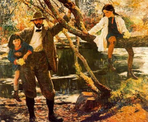 Лора Найт. Мужчина с детьми в саду