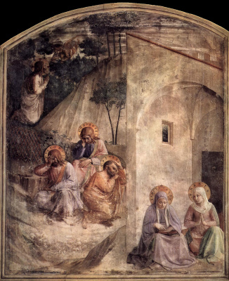 Fra Beato Angelico. Praying for the Chalice. Maria and Martha. Fresco of the Monastery of San Marco, Florence