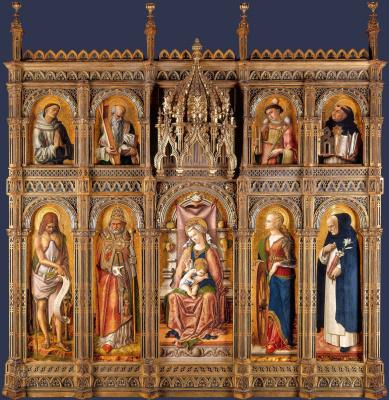 Carlo Crivelli. The Central altar of San Domenico in Ascoli (the Altar Demidov), a polyptych