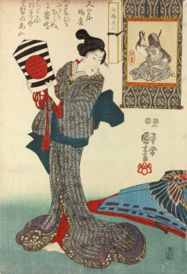 """Utagawa Kuniyoshi. The series """"the Woman and the 7 gods of luck"""". A woman with a kite. The God of good luck and wise choices Fukurokuju with a crane."""