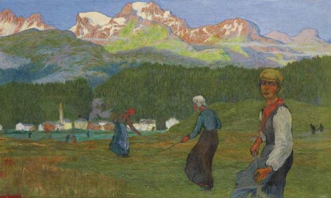 Giovanni Giacometti. Hay. Women in the field