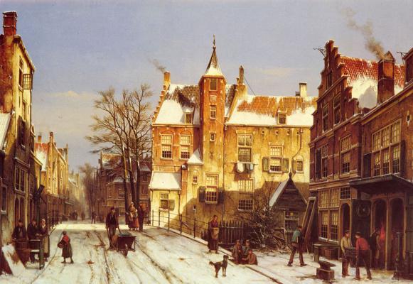 Виллем Куккук. Голландская деревня зимой