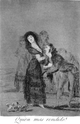 """Francisco Goya. """"Who's more committed?"""" (Series """"Caprichos"""", page 27)"""