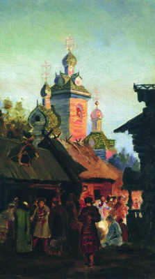 Andrei Petrovich Ryabushkin. Street of old Moscow. 1890s