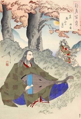 """Цукиока Ёситоси. Луна над горой Миядзи. Серия """"100 видов луны"""""""