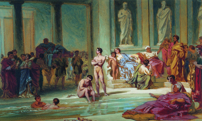 Fedor Andreevich Bronnikov. In the Roman baths. 1865 Sketch