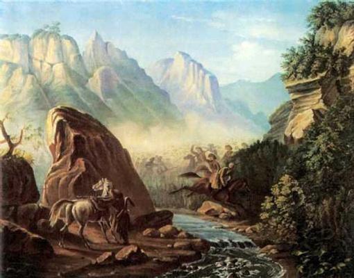 Mikhail Yurjevich Lermontov. Shootout in the mountains of Dagestan.