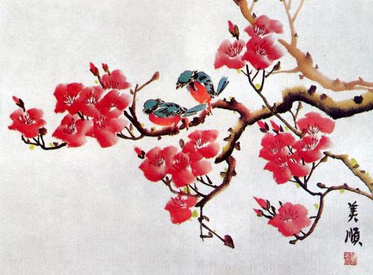 Хан Ми-Сун. Весеннее цветение и птицы