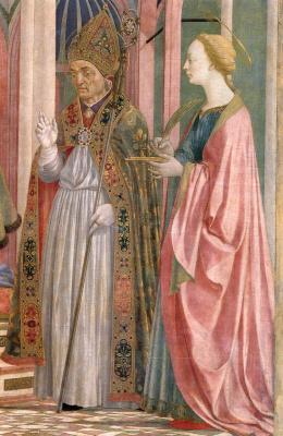 Доменико Венециано. Алтарь Девы Марии, сцена: Мария с младенцем и святыми, деталь