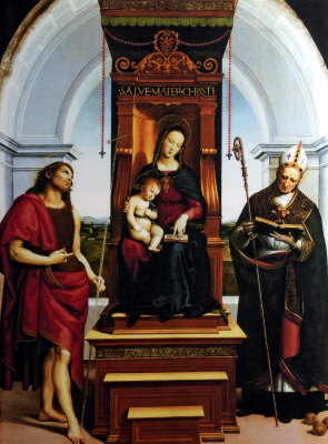 Raphael Sanzio. Madonna with the child enthroned (Madonna of Ansidei)