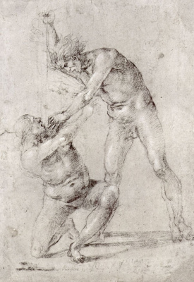 Luke Signorelli. Two naked Man stabbing a woman with a dagger