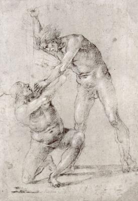 Лука Синьорелли. Двое обнаженных: Мужчина, пронзающий женщину кинжалом