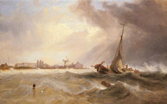John Wilson Carmichael. The ship leaves the coast through rough waters