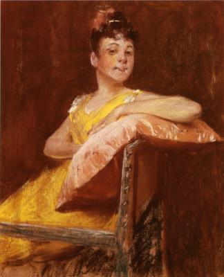 William Merritt Chase. The girl in the yellow dress