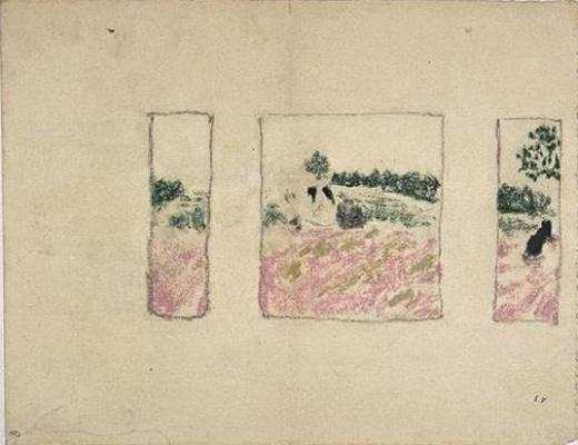 Jean Edouard Vuillard. Sketch the three panels