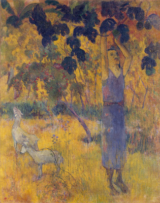 Paul Gauguin. The man gathering the fruit from the tree