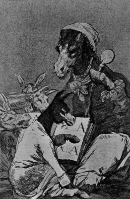 "Francisco Goya. ""But not smarter or a student?"" (Series ""Caprichos"", page 37)"