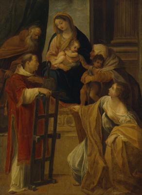 Лодовико Карраччи. Мадонна с младенцем, Иоанном Крестителем, святыми Антонием, Лаврентием, Елизаветой и Варварой (Екатериной?)