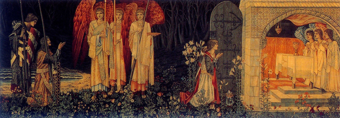 "William Morris. Series ""The Quest for the Holy Grail"". On his knees before the angels and the Holy Grail (Together with Edward Burne-Jones)"