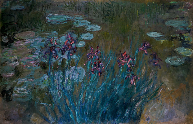 Claude Monet. Irises and water lilies