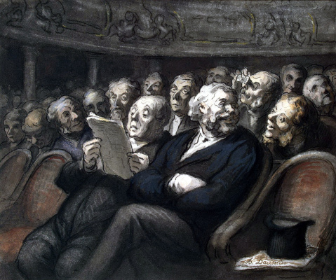 Honore Daumier. Intermission at the comédie française