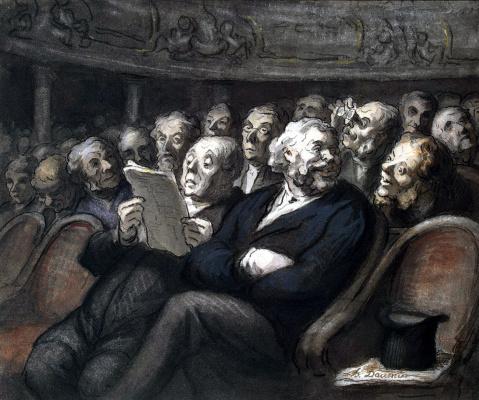 Honore Daumier. Intermission at the comédie française
