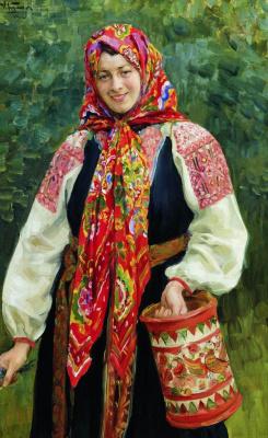 Иван Семенович Куликов. Девушка с туесом. 1912
