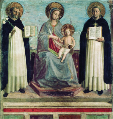 Фра Беато Анджелико. Мадонна с Младенцем, святыми Домеником и Фомой Аквинским. 1424—1430