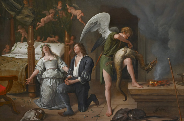 Jan Steen. Tobias and Sarah at the wedding bed. The Archangel Raphael, in exorcising the demon Asmodeus