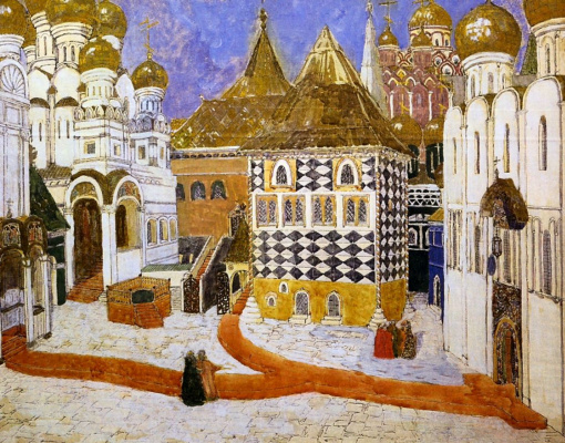 """Alexander Yakovlevich Golovin. Kremlin square. A sketch of the scenery for the first act of the Opera by M. Musorgsky """"Boris Godunov"""""""