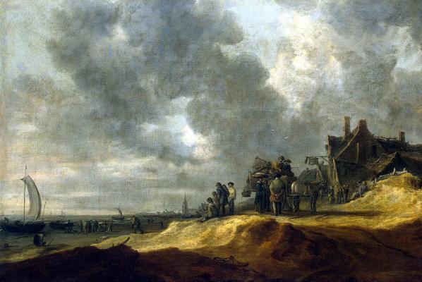 Jan van Goyen. Beach in Scheveningen
