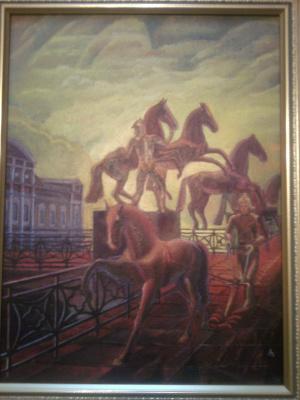 Уничтожение культуры(вницувидны купола церквей- красноармеец все уничтожает) Эта картина написана при СССР и была уголоно наказуема...