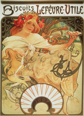 "Alfons Mucha. The packaging of biscuits, ""Lefevre - utile"""