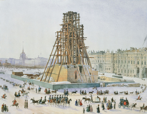 Григорий Григорьевич Гагарин. Александрийская колонна в лесах. 1832-1833