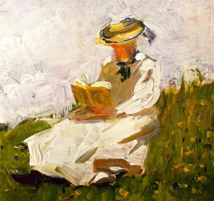 Франц Марк. Женщина читает на лугу