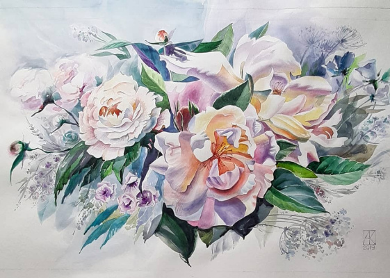 Lika Kondratsionova. Peonies and Rose Hips