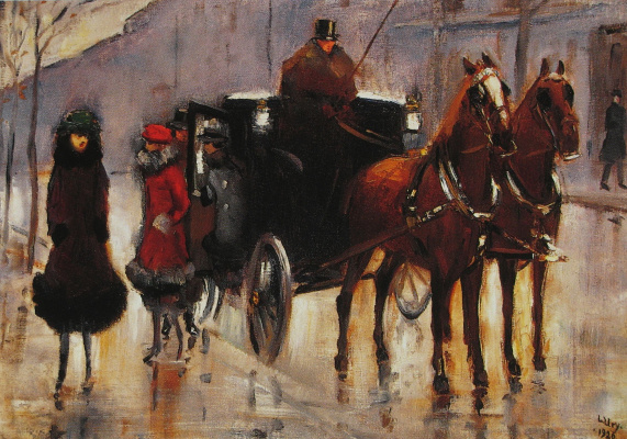 Lesser Ury. The lady, sitting down in the cab