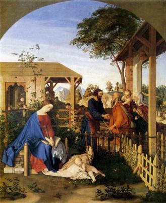 Julius Schnorr von Karolsfeld. The family of St. John the Baptist poedaet family of Christ