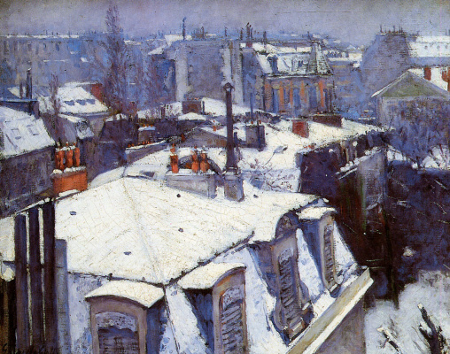 Gustave Caillebotte. Snow-covered roofs in Paris